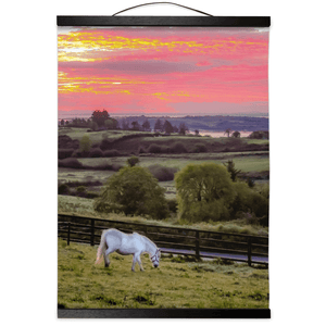 Wall Hanging - White Horse under Irish Sunrise, County Clare Wall Hanging Moods of Ireland 12x16 inch Black