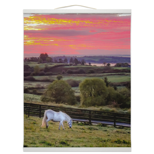 Wall Hanging - White Horse under Irish Sunrise, County Clare Wall Hanging Moods of Ireland 16x20 inch White