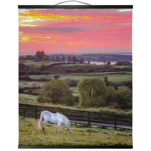 Wall Hanging - White Horse under Irish Sunrise, County Clare Wall Hanging Moods of Ireland 20x24 inch Black