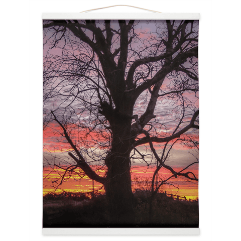 Image of Wall Hanging - Irish Sunrise and Hibernating Tree Irish Wall Hanging Moods of Ireland 12x16 inch White