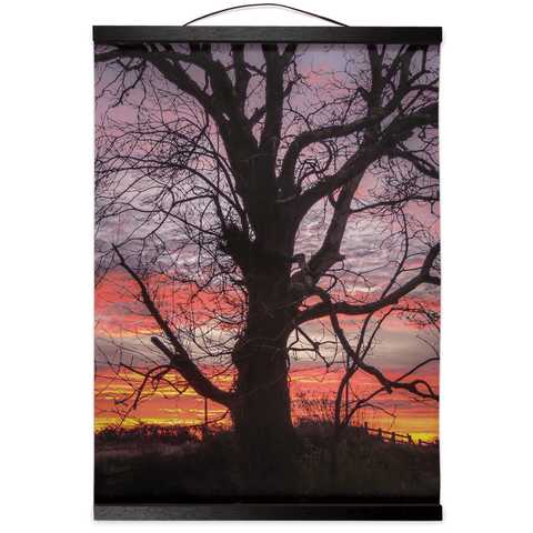 Image of Wall Hanging - Irish Sunrise and Hibernating Tree Irish Wall Hanging Moods of Ireland 12x16 inch Black