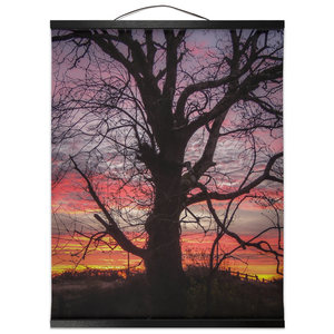 Wall Hanging - Irish Sunrise and Hibernating Tree Irish Wall Hanging Moods of Ireland 16x20 inch Black