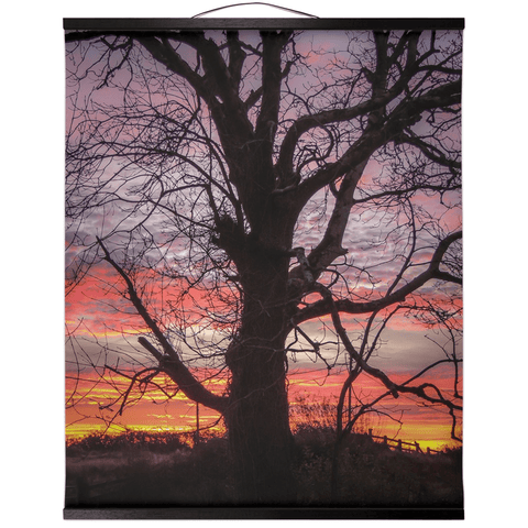 Image of Wall Hanging - Irish Sunrise and Hibernating Tree Irish Wall Hanging Moods of Ireland 20x24 inch Black