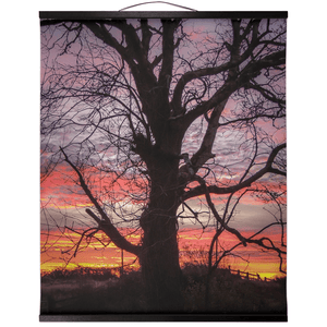 Wall Hanging - Irish Sunrise and Hibernating Tree Irish Wall Hanging Moods of Ireland 20x24 inch Black