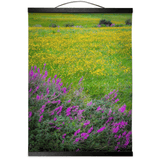 Wall Hanging - Irish Countryside Summer Wildflower Meadow Wall Hanging Moods of Ireland 12x16 inch Black
