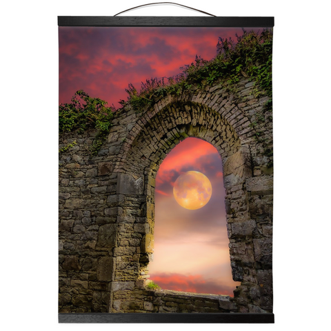 Wall Hanging - Wolf Moon at Sunrise over County Clare Wall Hanging Moods of Ireland 12x16 inch Black