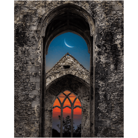 Print - Crescent Moon over Quin Abbey, County Clare - James A. Truett - Moods of Ireland - Irish Art