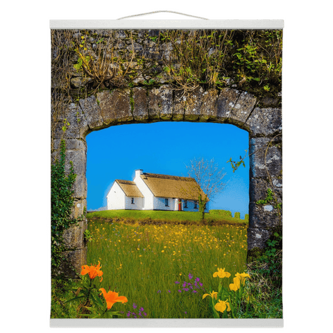 Image of Wall Hanging - Thatched Cottage on a Hill, County Care Wall Hanging Moods of Ireland 16x20 inch White