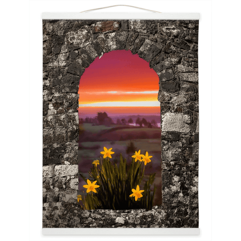 Image of Wall Hanging - Spring Daffodils and County Clare Sunrise Wall Hanging Moods of Ireland 12x16 inch White