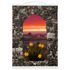 Wall Hanging - Spring Daffodils and County Clare Sunrise Wall Hanging Moods of Ireland 12x16 inch White