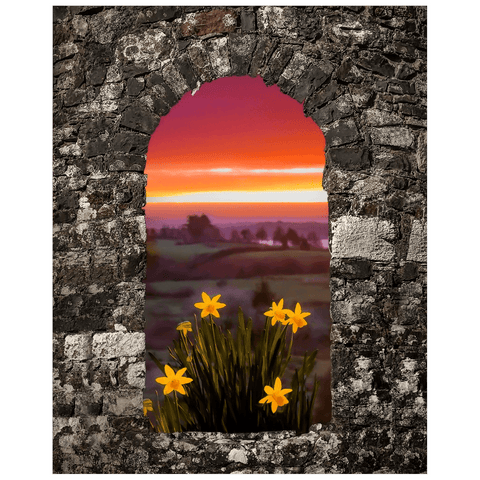 Print - Spring Daffodils and County Clare Sunrise Poster Print Moods of Ireland 16x20 inch