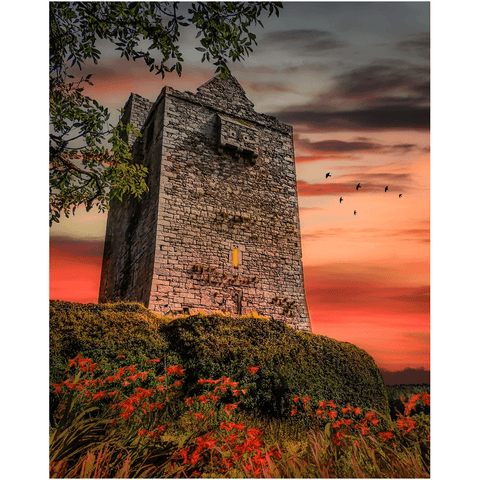 Image of Print - Ballinalacken Castle at Sunset, County Clare Poster Print Moods of Ireland 8x10 inch