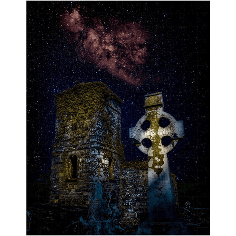 Image of Puzzle - Night Sky over Clondegad Graveyard, County Clare - James A. Truett - Moods of Ireland - Irish Art