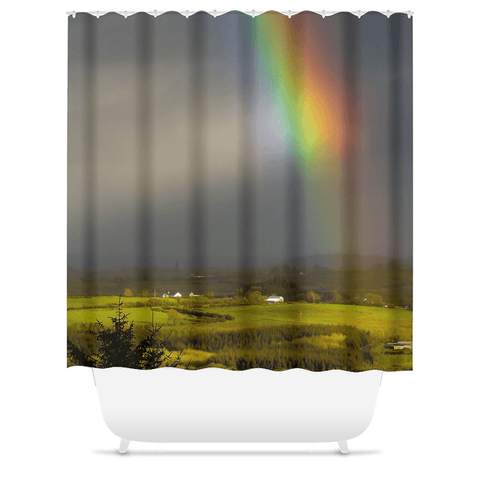 Shower Curtain - Vibrant Rainbow over County Clare Countryside - James A. Truett - Moods of Ireland - Irish Art