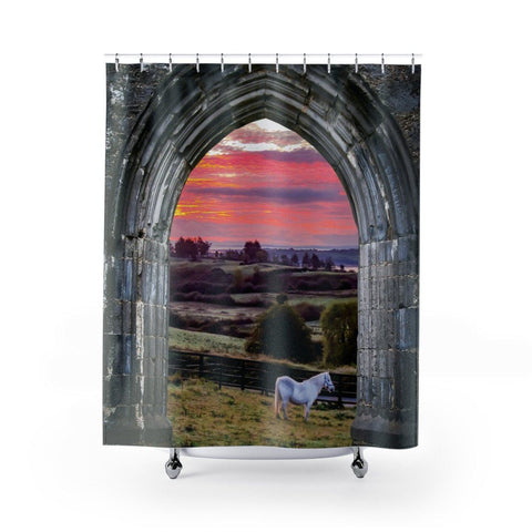 "Image of Shower Curtain - Horse at Irish Sunrise Home Decor Printify 71"" x 74"""