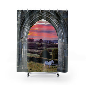 "Shower Curtain - Horse at Irish Sunrise Home Decor Printify 71"" x 74"""