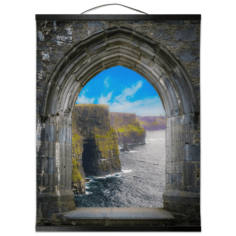 Image of Wall Hanging - Ireland's Cliffs of Moher through Rock of Cashel Medieval Arch wall hanging Moods of Ireland 16x20 inch Black