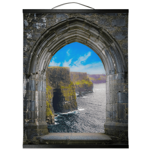 Wall Hanging - Ireland's Cliffs of Moher through Rock of Cashel Medieval Arch wall hanging Moods of Ireland 16x20 inch Black