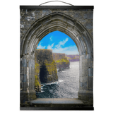 Wall Hanging - Ireland's Cliffs of Moher through Rock of Cashel Medieval Arch wall hanging Moods of Ireland 12x16 inch Black