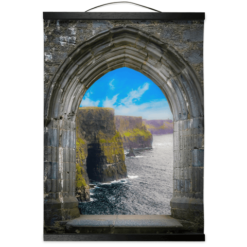 Image of Wall Hanging - Ireland's Cliffs of Moher through Rock of Cashel Medieval Arch wall hanging Moods of Ireland 12x16 inch Black
