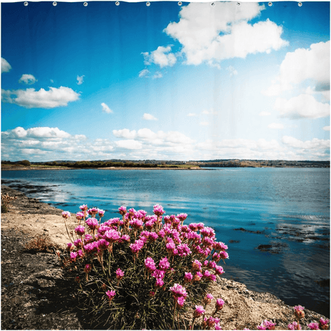 Shower Curtain - Sea Pinks along Ireland's Shannon Estuary - James A. Truett - Moods of Ireland - Irish Art