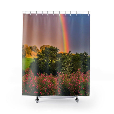 Image of Shower Curtain - Rainbow & Great Willowherb Wildflowers, County Clare - James A. Truett - Moods of Ireland - Irish Art