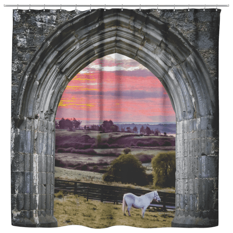 Shower Curtain - White Horse at Sunrise, County Clare Shower Curtains teelaunch Shower Curtain