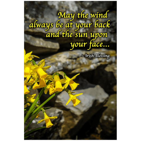 Image of Print - Irish Blessing with Daffodils and Stone Wall Poster Print Moods of Ireland 24x36 inch