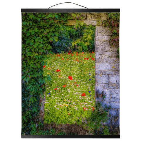 Irish Wall Hanging - Magical Irish Wildflower Meadow in County Clare Wall Hanging Moods of Ireland 16x20 inch Black