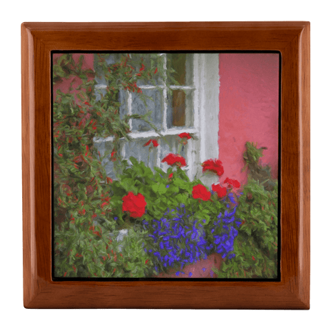 Jewelry Box - Irish Cottage Windowbox at Bunratty, County Clare Jewelry Box teelaunch Golden Oak