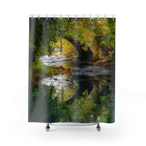"Image of Shower Curtain - Clondegad Bridge Reflection, County Clare Home Decor Printify 71"" x 74"""