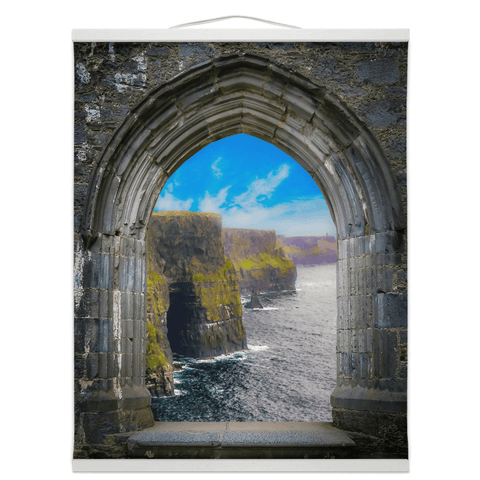 Image of Wall Hanging - Ireland's Cliffs of Moher through Rock of Cashel Medieval Arch wall hanging Moods of Ireland 16x20 inch White