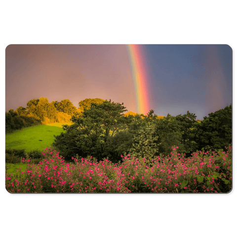 Desk Mat - Irish Rainbow over Great Willowherb Flowers in County Clare - James A. Truett - Moods of Ireland - Irish Art