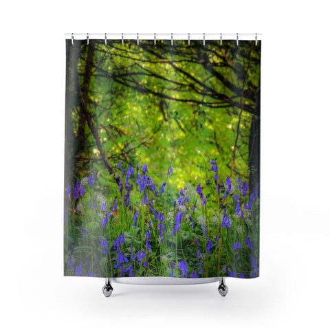 Image of Shower Curtain - Bluebells in Clondegad Wood, County Clare - James A. Truett - Moods of Ireland - Irish Art
