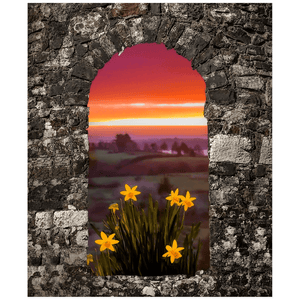 Print - Spring Daffodils and County Clare Sunrise Poster Print Moods of Ireland 20x24 inch