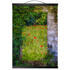 Irish Wall Hanging - Magical Irish Wildflower Meadow in County Clare Wall Hanging Moods of Ireland 12x16 inch Black