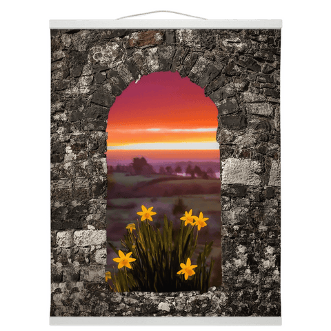 Image of Wall Hanging - Spring Daffodils and County Clare Sunrise Wall Hanging Moods of Ireland 16x20 inch White
