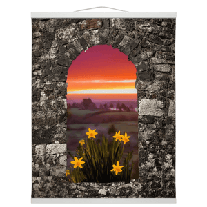 Wall Hanging - Spring Daffodils and County Clare Sunrise Wall Hanging Moods of Ireland 16x20 inch White