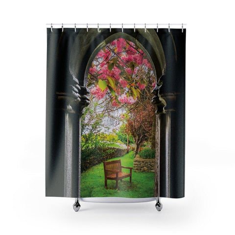 "Shower Curtain - Medieval Abbey in Irish Spring, Quin Abbey, County Clare Home Decor Printify 71"" x 74"""
