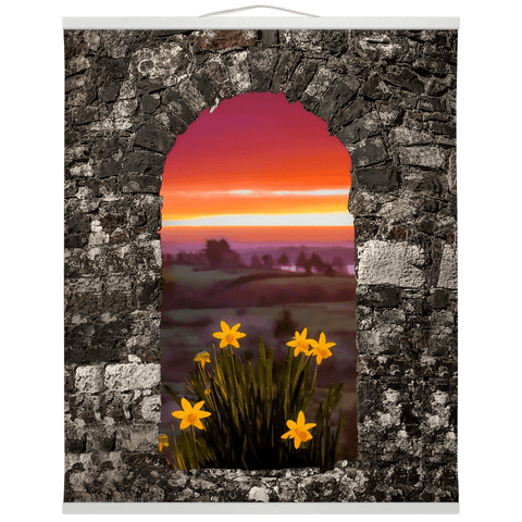Image of Wall Hanging - Spring Daffodils and County Clare Sunrise Wall Hanging Moods of Ireland 20x24 inch White