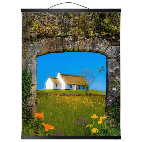 Image of Wall Hanging - Thatched Cottage on a Hill, County Care Wall Hanging Moods of Ireland 16x20 inch Black