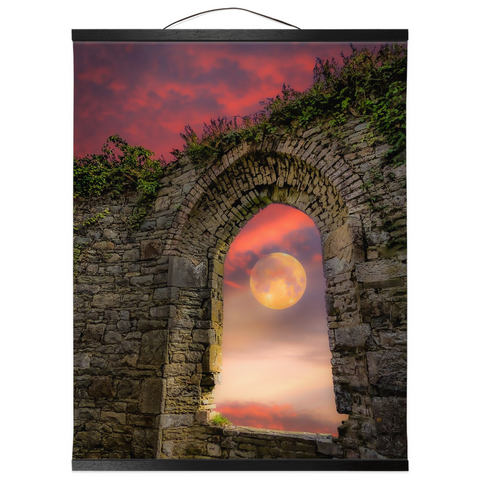 Wall Hanging - Wolf Moon at Sunrise over County Clare Wall Hanging Moods of Ireland 16x20 inch Black
