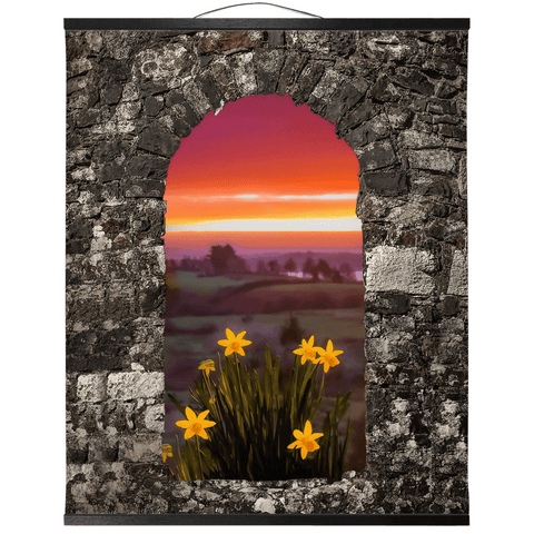Image of Wall Hanging - Spring Daffodils and County Clare Sunrise Wall Hanging Moods of Ireland 20x24 inch Black
