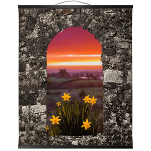Wall Hanging - Spring Daffodils and County Clare Sunrise Wall Hanging Moods of Ireland 20x24 inch Black