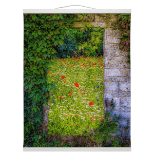 Irish Wall Hanging - Magical Irish Wildflower Meadow in County Clare Wall Hanging Moods of Ireland 16x20 inch White