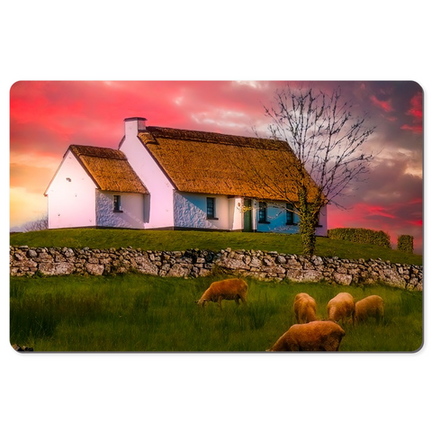 Desk Mat - Irish Thatched Cottage on a Hill, County Clare, Ireland - James A. Truett - Moods of Ireland - Irish Art
