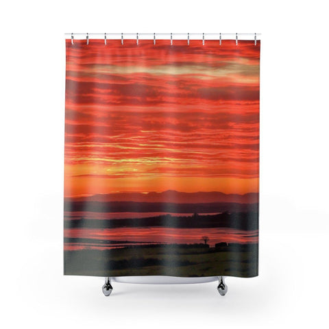Image of Shower Curtain - Spectacular Shannon Estuary Sunrise, County Clare - James A. Truett - Moods of Ireland - Irish Art