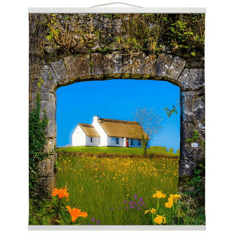 Image of Wall Hanging - Thatched Cottage on a Hill, County Care Wall Hanging Moods of Ireland 20x24 inch White
