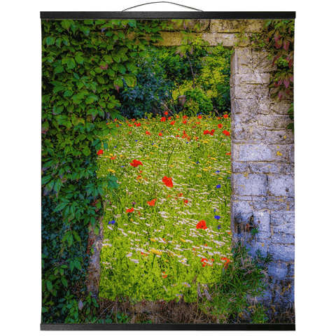 Irish Wall Hanging - Magical Irish Wildflower Meadow in County Clare Wall Hanging Moods of Ireland 20x24 inch Black