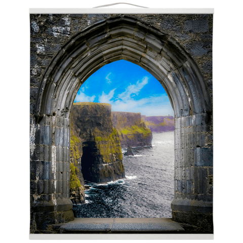 Image of Wall Hanging - Ireland's Cliffs of Moher through Rock of Cashel Medieval Arch wall hanging Moods of Ireland 20x24 inch White